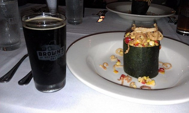 Farmer Joe's/Brown's Malted Barley Fed Beef Stuffed Zucchini withGrilled Corn and Red Bell Pepper Salsa Topped with Fried Onion Crisps. Paired with Porter.