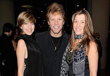 Singer Jon Bon Jovi (C) with daughter Stephanie Rose Bon Jovi (L) and wife Dorothea Rose Hurley (R)