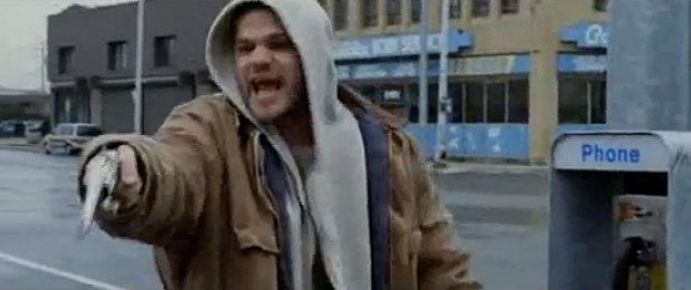8 mile fight scene cheddar bob shoots him self in the nuts