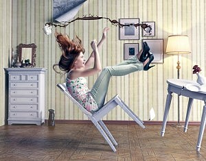 Girl Falling in Chair