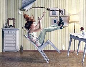 Girl Falling in Chair