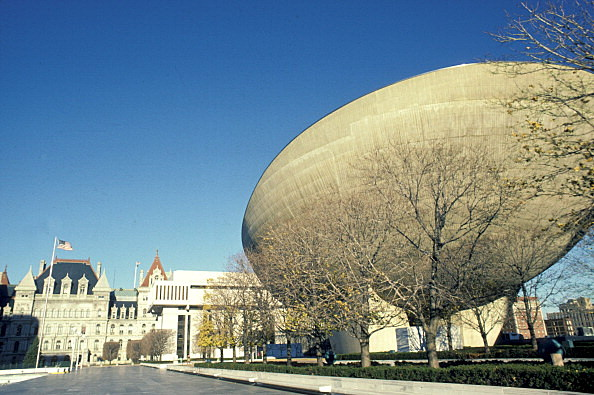 New York, Albany, Capitol Building And Egg (Performing Arts Building).