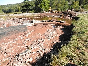 Washed away river banks after Hurricane Irene, taken by Rock Girl Tatiana's cousin