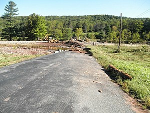 Washed out roads on family land, taken by Rock Girl Tatiana's cousin