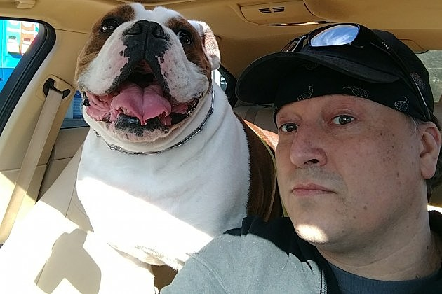 Tig with with his English bulldog Jax