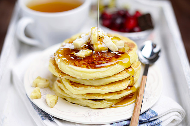 Banana pancakes with maple syrup, brunch